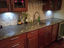 JAVA COFFEE CABINETS WITH FANTASY BROWN GRANITE